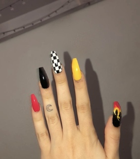 girl, fire and nail designs