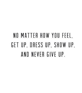 never give up and quote