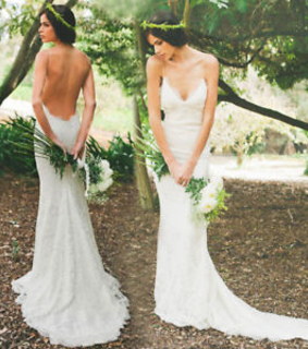 lace wedding dress, backless wedding dress and country wedding dress