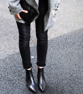 black and grey, black boots and black jeans