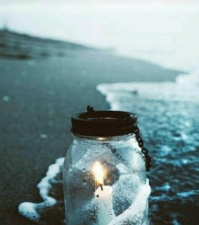 jar, candle and beach