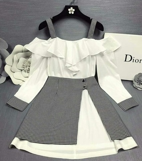 korean style, dress and black and white clothes