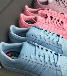 pink and blue, shoes and adidas