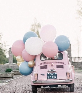 light pink, blue and car