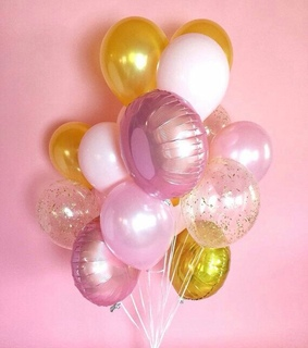 ballons, pink and golds