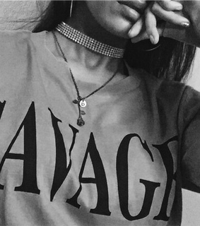 savage, black & white and choker necklace