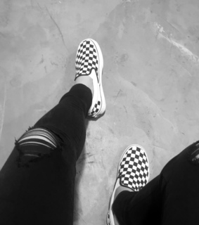 black jeans, checkered vans and vans