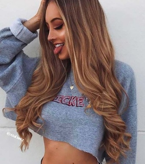 necklace, brown and long hair