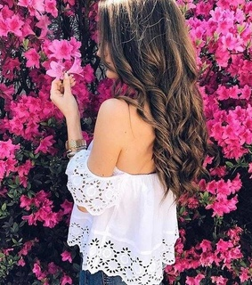 curls, flowers and hairstyle