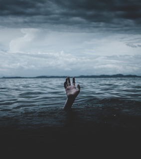 water, drowning and hand