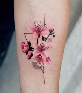 pink, flower and triangle