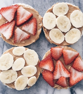 breakfast, healthy life and strawberries