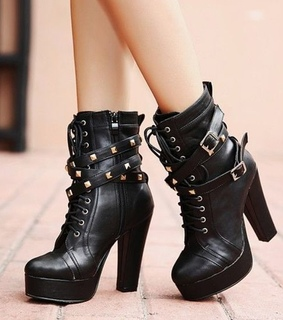 ankle, black and boots