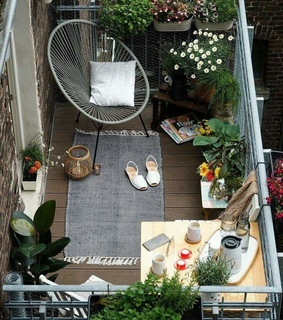 balcony, cozy and home