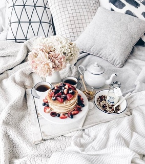 flowers, home and breakfast in bed