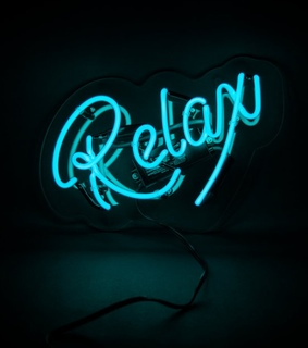 neon blue, sign and neon lights