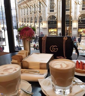 gucci bag, coffee and brunch