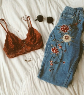 aesthetic, bralette and brown