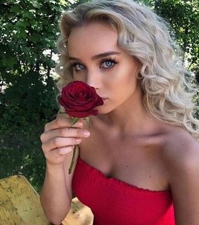 red dress, blonde and blue eyes