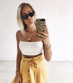 camel pants, crop top and fashion