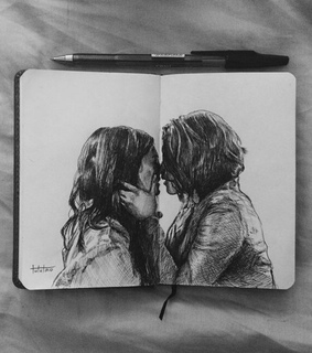 art, black and white and couple
