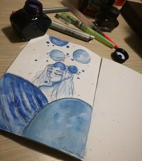 art, blue and draw