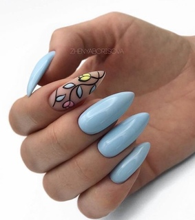 blue, floral and nail art