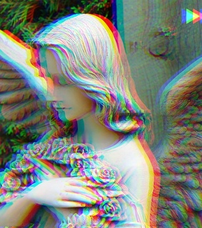 Dream, distorted photography and faded angel wings