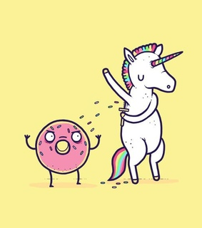 donut, funny and unicorn
