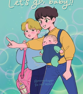 art drawing, baby and bts