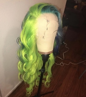 green, hair and weave
