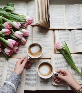coffee, bookstagram and tulip