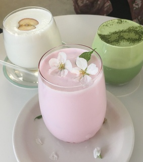 green tea, ice cream and pink