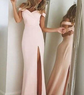 off shoulder dress, evening dress and pink dress