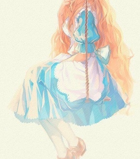 alice in wonderland, apron and blonde hair