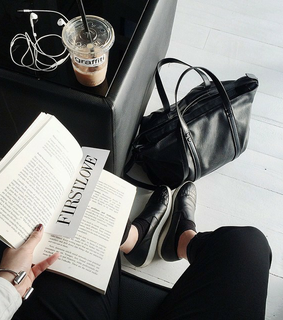 bag, black and book