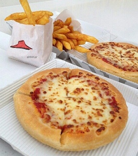 food, fries and pizza