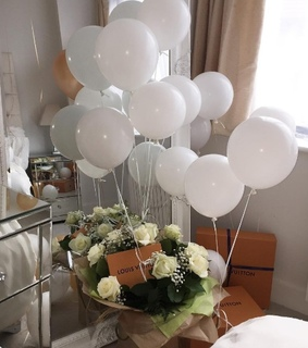 sweet, flowers and balloons