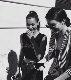 bella hadid, black and white and kendall jenner
