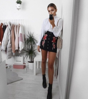 casual, black skirt and white blouse
