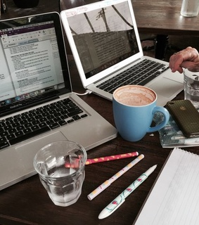 study inspiration, pens and cafe