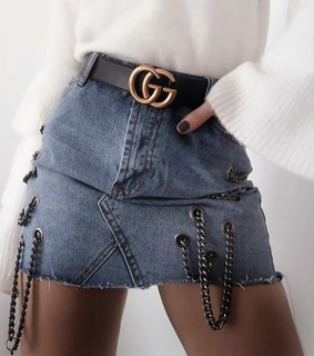 gucci, jean and skirt