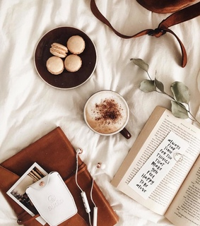 bedroom, books and coffee
