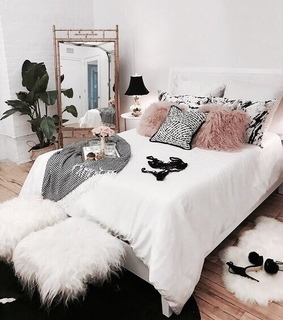 bed, bedroom and decor
