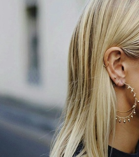 blond, ear and earring
