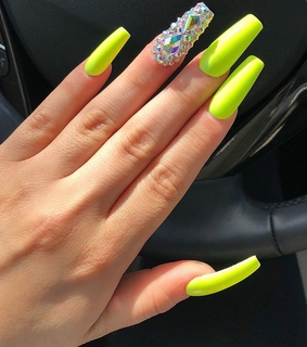 beauty, hands and neon nails