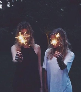 sparklers, best friend and lights