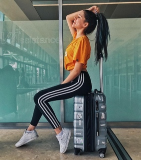 fashion, airport and suitcase