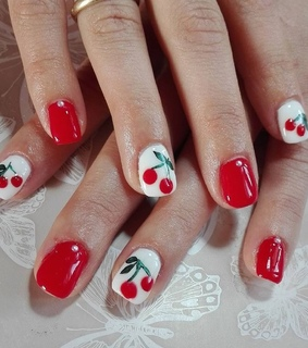 aestheric, beauty and cherry nails