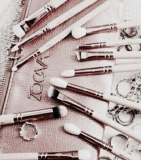 Brushes, pink and purse